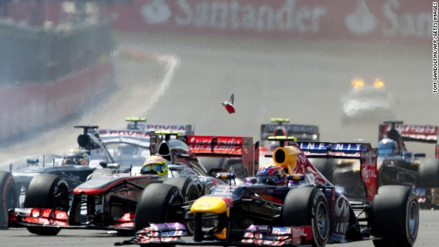 Mark Webber suffered some damage to his front wing soon after the start of the race and the Australian slipped to 15th on lap one. But the Australian made a superb recovery to finish second.