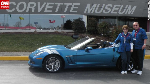"<a href='http://ireport.cnn.com/docs/DOC-996560'>Wayne Ray </a>and his wife stand in front of their 2010 Corvette Grand Sport. ""When we ordered the car, we also requested a 'Buyers Tour' from the museum. That when the museum escorts you through the Corvette plant on the day your car is built so you can walk it down the line and actually see the building process,"" he explained."