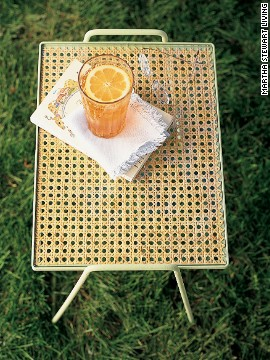 Iron garden tables from the mid-twentieth century are easy to find at flea markets, but they often look plain. Give one instant style with a fresh coat of paint in a sunny shade and easy-to-install caning (no weaving required).