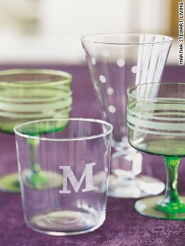 Flea-market finds and dollar-a-glass specials can be transformed with monograms, stripes, and whimsical polka dots.