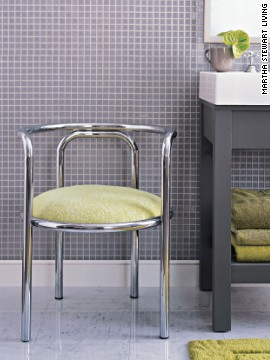 This chic seat has been reupholstered with a terry cloth towel, rendering this flea-market treasure perfect for the bathroom.