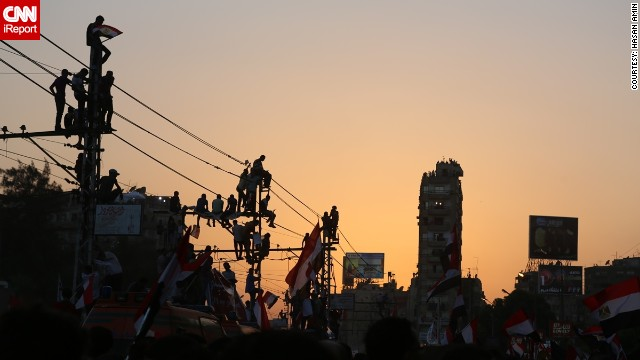 "iReporter and photographer Hasan Amin captured these images June 30 in the crowd of protesters marching against Morsy in Cairo. ""It was positive. A lot of Egyptians went to protest for the first time,"" he said."