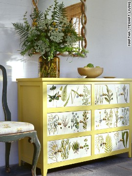What began as an unremarkable piece of furniture becomes a bold, modern design statement when adorned with leaves and vines. <!-- --> </br><!-- --> </br>Click on the double arrow below to find more tips for shopping at flea markets and yard sales.