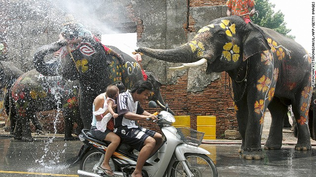 A water fight takes place every year during Songkran, the Thai New Year. Attendees splash each other, and some even break out the water pistol. Elephants -- who are especially effective at dousing water -- join in the fun as well.