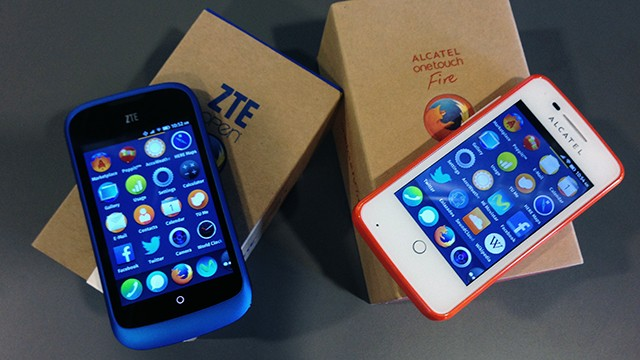 The two phones running the new Firefox mobile operating system, the ZTE Open and Alcatel One Touch.