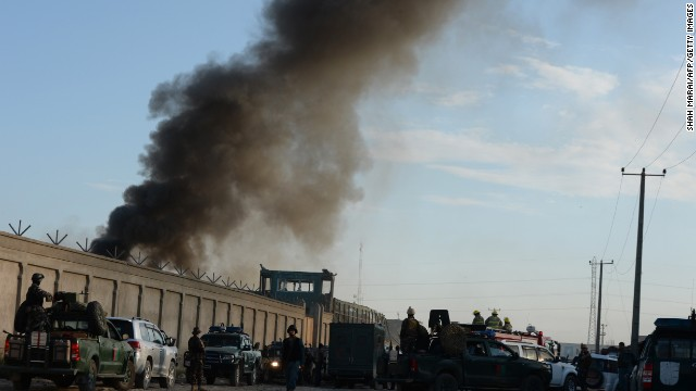 The entrance gate of a foreign logistics company that was the site of a suicide attack in Kabul on Tuesday.