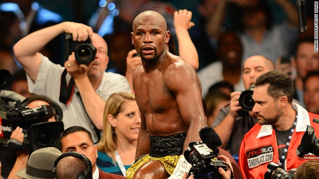 In his first bout since his two-month jail spell last year, Floyd Mayweather celebrates his unanimous decision against Robert Guerrero -- taking his professional record to 44-0.