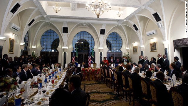 Tanzanian President Jakaya Kikwete toasts Obama during an official dinner at the State House in Dar Es Salaam on July 1.