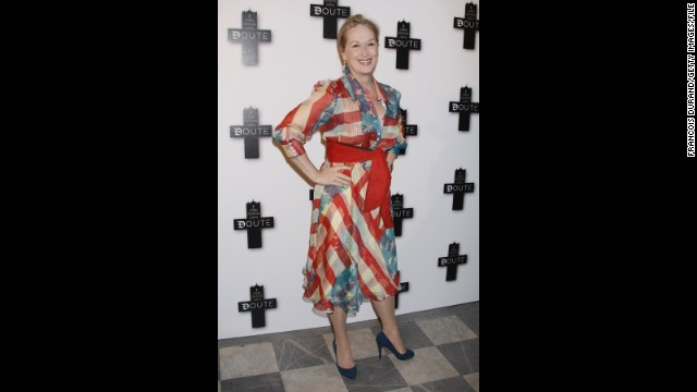 "Meryl Streep leaves no ""Doubt"" about her U.S. pride at that movie's Paris premiere in January 2009."