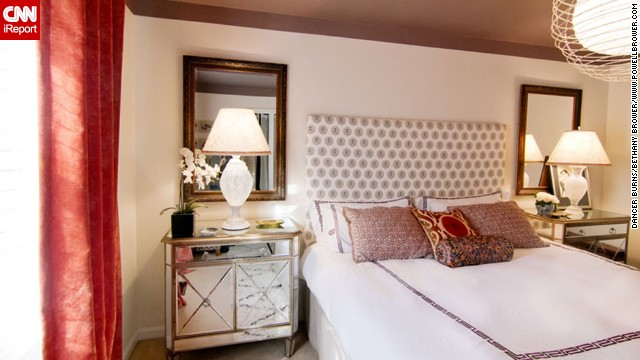 <a href='http://ireport.cnn.com/docs/DOC-996361'>Bethany Brower,</a> an interior decorator and blogger for <a href='http://powellbrower.com/2012/08/one-room-challenge-reveal.html' target='_blank'>Powell Brower</a> from Northern Virginia likes to sleep. But her husband likes to wake up. The perfect compromise? Airy curtains and a cozy, dark ceiling.