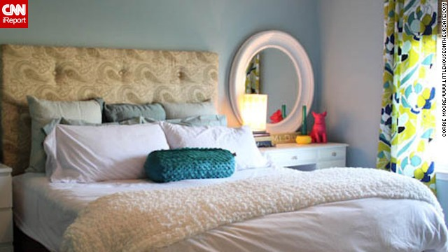<a href='http://ireport.cnn.com/docs/DOC-996306'>Corrie Moore</a>, from Chesterfield, Michigan, spends her days as a laboratory technician but moonlights as a decor blogger at Little House on the Update. She and her husband <a href='http://littlehouseontheupdate.com/our-home/' target='_blank'>built their own tufted headboard</a> out of plywood, upholstery foam, fabric and buttons.