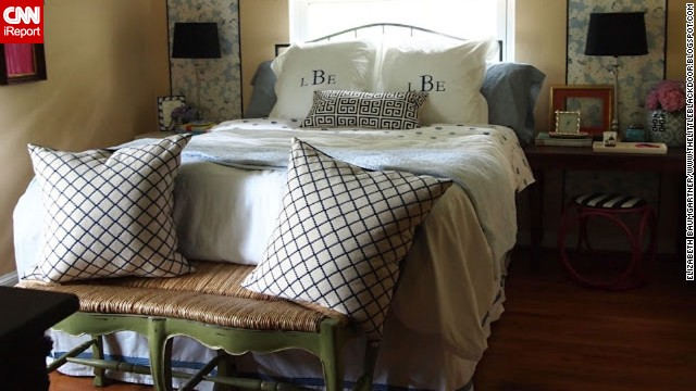 <a href='http://ireport.cnn.com/docs/DOC-996853'>Elizabeth Baumgartner</a> of St. Louis said her bedroom sat neglected while she worked on decorating the rest of her house. Through smart purchases and repurposed items from the rest of her home, she transformed her bedroom and documented the process <a href='http://thelittleblackdoor.blogspot.com/2012/05/now-i-can-lay-down-bedroom-reveal.html' target='_blank'>on her blog</a>.