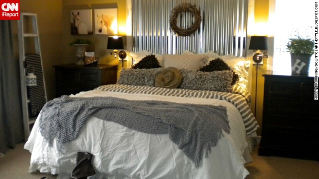 <a href='http://ireport.cnn.com/docs/DOC-997650'>Holly Browning,</a> from Midlothian, Virginia, says she automatically feels relaxed and sexy when she lies down in her bed. Her Shabby Chic bedroom that <a href='http://downtoearthstyle.blogspot.com/' target='_blank'>combines vintage and industrial accents</a> is also focused on texture, especially in the bedding.
