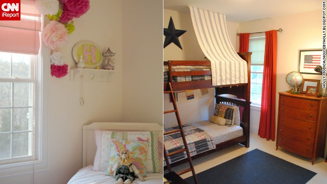 <a href='http://ireport.cnn.com/docs/DOC-996768'>Holly Modica</a> from Connecticut decorated her <a href='http://ireport.cnn.com/docs/DOC-996766'>children's bedrooms</a> on a budget, using decorative items from around the house as well as <a href='http://housebyholly.blogspot.com/2012/04/how-to-embelish-little-girls-room-for.html' target='_blank'>tissue paper, coffee filters, popsicle sticks and tree branches. </a>