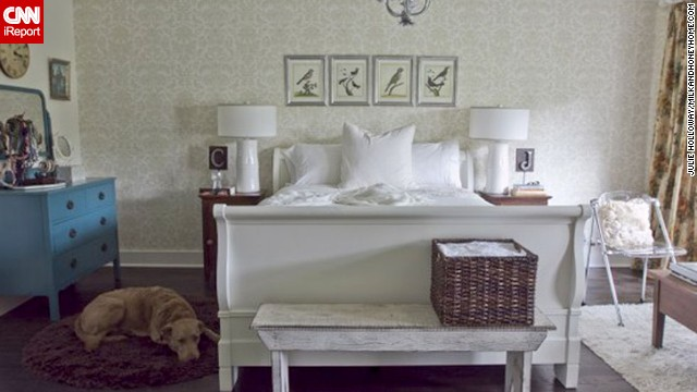<a href='http://milkandhoneyhome.com' target='_blank'>Milk and Honey Home</a> decorator <a href='http://ireport.cnn.com/docs/DOC-997758'>Julie Holloway,</a> from Roswell, Georgia, kept her own bedroom light and bright by painting her bed frame white. The blue dresser adds some fun to the calm scheme.