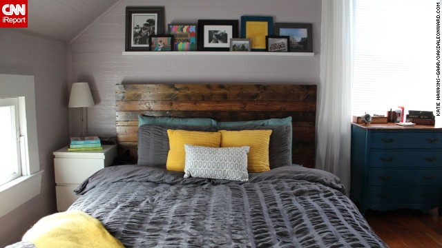 Our colleague <a href='http://ireport.cnn.com/docs/DOC-996349'>Katie Hawkins-Gaar </a>and her husband turned their Ikea Malm bed into a<a href='http://oakdaleonward.com/2012/12/30/my-husband-the-carpenter/' target='_blank'> one-of-a-kind masterpiece</a> with the wooden headboard they made. It's the star of the show in their bedroom that balances soothing lavender walls with a dark gray duvet cover.