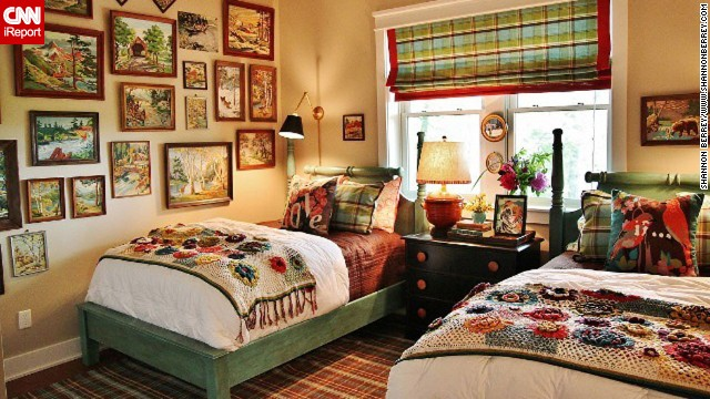 Interior designer <a href='http://ireport.cnn.com/docs/DOC-996212'>Shannon Berrey,</a> who also <a href='http://www.shannonberrey.com' target='_blank'>blogs from the mountains</a> of Sylva, North Carolina, created this cozy vacation home bedroom for her clients who loved paint-by-numbers pictures. She located vintage paint-by-numbers artwork that featured mountain scenes, and drew her color scheme for the bedroom from them.