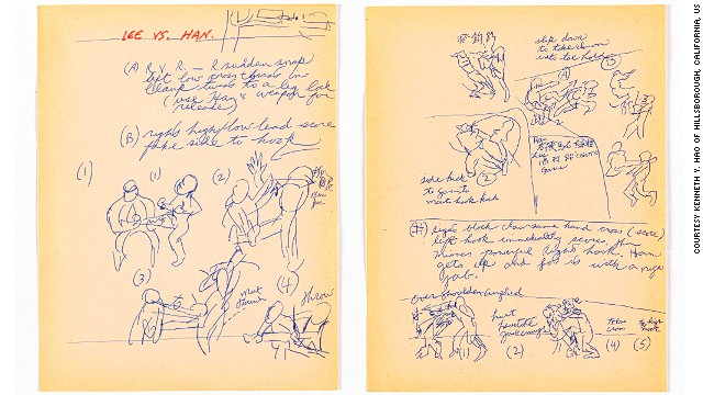 "Conceptual drawings by Lee for the fight scenes from ""Enter the Dragon,"" featuring the late action star Jim Kelly. The film was also Lee's last production. He died days before the film's release."