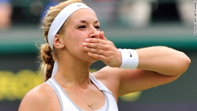 Sabine Lisicki blows a kiss to the crowd after sealing her place in the semifinal at Wimbledon. Lisicki, who also reached the last four in 2011, defeated Estonia's Kaia Kanepi 6-3 6-3.
