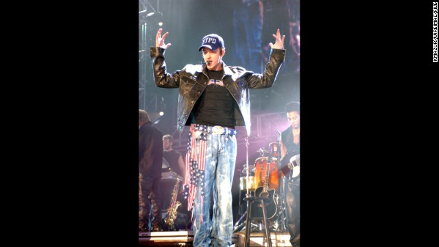 Justin Timberlake's flag-inspired denim is for a good cause as part of the October 2001 United We Stand concert, a tribute to the victims of 9/11.