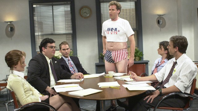 "Will Ferrell's short shorts and crop top during ""Saturday Night Live's'"" 2001 ""Show Your Patriotism"" skit just <i>scream</i> ""USA! USA!"""