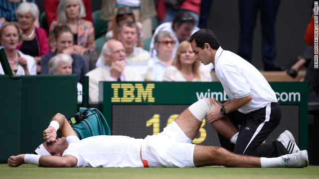 Juan Martin Del Potro's bid to reach the semifinal began in the worst possible fashion as he slipped on the Wimbledon surface early on during his last eight clash with David Ferrer. The Argentine required treatment to his left knee but bounced back to win 6-2 6-4 7-6.
