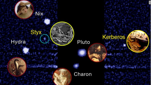 Pluto's two newly discovered, and smallest, moons will be named Styx and Kerberos, despite