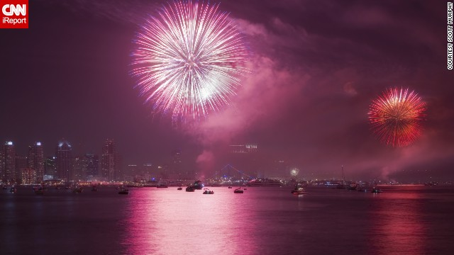 "Scott Murphy took this photo of fireworks over <a href='http://ireport.cnn.com/docs/DOC-997299'>San Diego's downtown skyline</a> in 2011. He likes to shoot them every year. In 2012, he wasn't able to photograph the show, but then ""it was the infamous firework show bust, where a technical fault caused the fireworks to explode at the same time,"" he recalls. ""Secretly, I was happy because it wouldn't have mattered if I was there or not."""