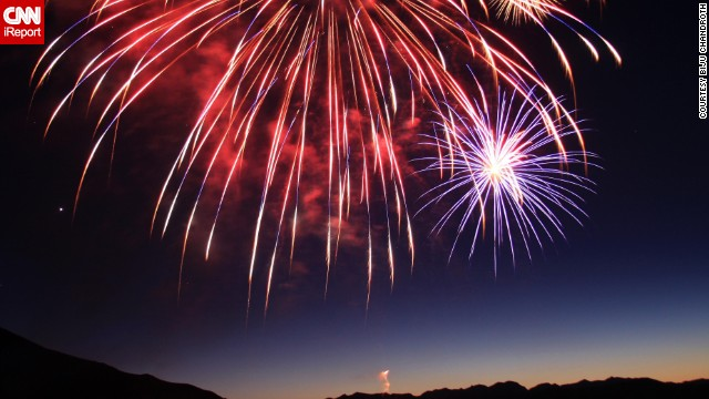 "Biju Chandroth snapped this great shot at a Fourth of July <a href='http://ireport.cnn.com/docs/DOC-998963'>fireworks display</a> at Mammoth Lakes, California, in 2011. ""I love taking [pictures of] fireworks [but] it's quite tricky,"" he says. ""One absolutely needs a tripod, since you will have to use a slow shutter to get the trails."""