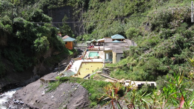 "Tungurahua's ""lahars"" or mud flows threatened the El Salado Baths in the town of Banos in 2005, says volcanologist Rebecca Williams.<!-- --> </br>"