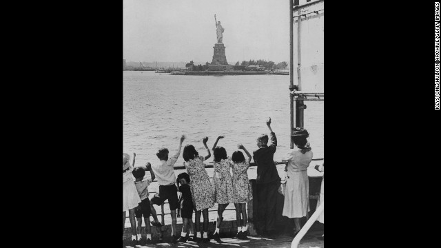Refugee children from England arrive in New York Harbor during World War II in 1940.