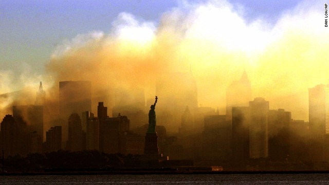 The Statue of Liberty is shrouded in smoke on September 15, 2001, four days after the terrorist attacks on the World Trade Center.