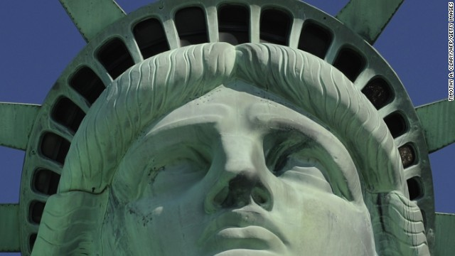 The statue's crown reopens to the public on July 4, 2008, after remaining closed since the World Trade Center attacks in 2001.