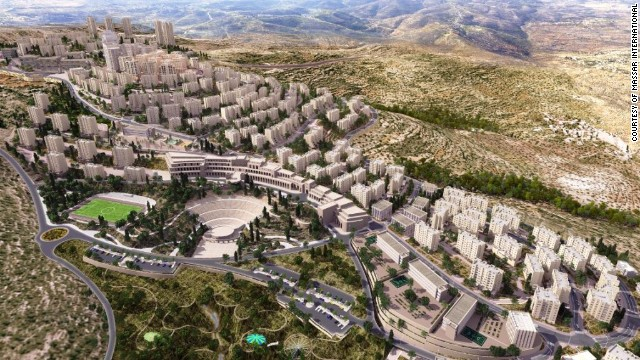 The $1 billion Rawabi development sits high in the hills in the West Bank. The vision for the finished project includes homes for 40,000 residents.