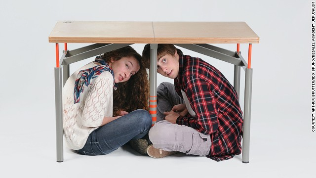 When an earthquake strikes, the common drill in schools is for children to seek refuge beneath a table. If the ceiling caves in, a table can act as protection from f