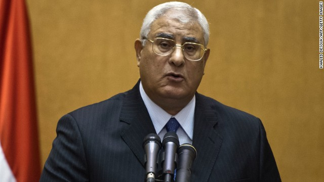 Adly Mansour is pictured at his swearing-in ceremony as the country's interim president on July 4.