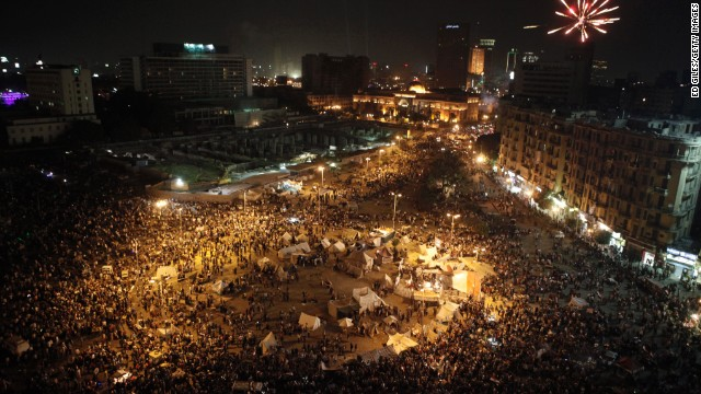 A massive crowd gathers in Tahrir Square on July 4.