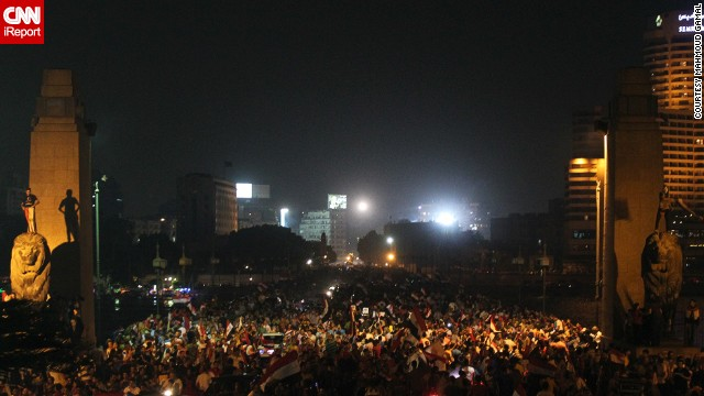 "iReporter <a href='http://ireport.cnn.com/docs/DOC-999679'>Mahmoud Gamal</a> captured this image of crowds in Cairo on Wednesday, July 3, after news came Mohamed Morsy, the former Egyptian president, had been ousted. ""It was an amazing carnival,"" he said."