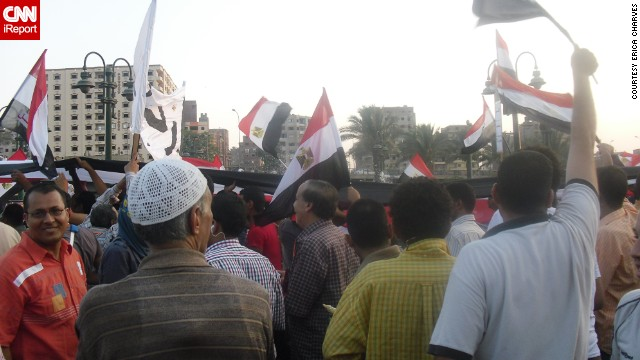 "Flags were ubiquitous throughout the protests, such as in this crowd in Cairo on Tuesday, July 2. ""A lot of my family [are] religious, so they pray that there will be peace in Egypt,"" said Charves."
