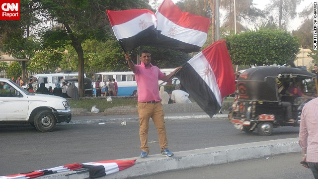 Freelance journalist <a href='http://ireport.cnn.com/docs/DOC-999156'>Erica Charves</a> captured this street scene July 2 as protests against Morsy gathered momentum.