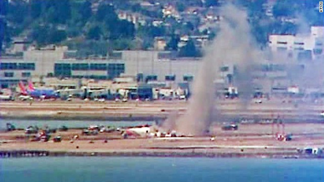 Video from the scene posted on YouTube shows dark gray smoke rising from the aircraft.