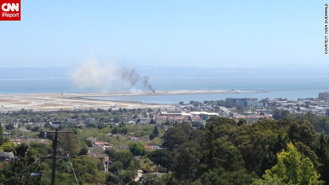 iReporter Sven Duenwald was at home on July 6 when he saw smoke rising into the air near the San Francisco International Airport.