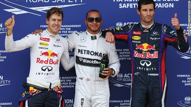 Lewis Hamilton (center) finished top of qualifying at the Nurburgring on Saturday.