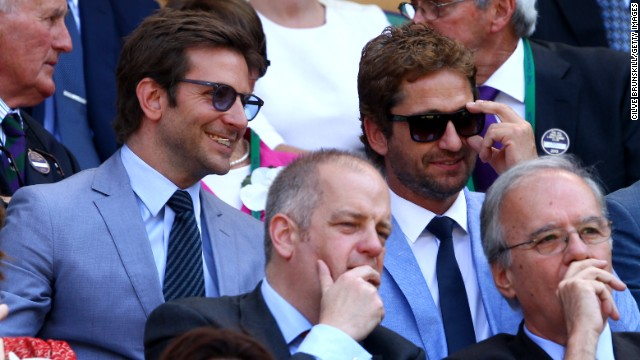 Hollywood stars Bradley Cooper and Gerard Butler were amongst a whole host of celebrities watching on Centre Court.