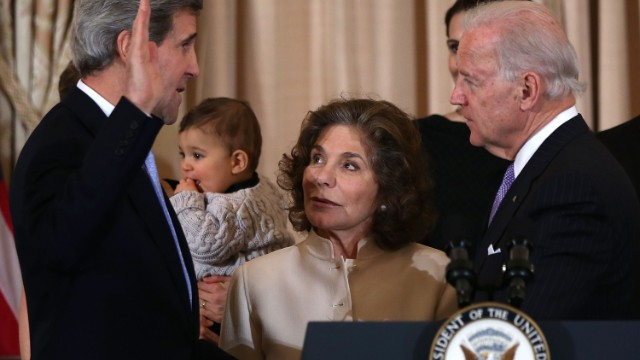 "Teresa Heinz Kerry, wife of Secretary of State John Kerry, was hospitalized July 8 after exhibiting symptoms of ""some sort of seizure,"" according to a source close to the family. She is pictured here, center, at the swearing-in ceremony of her husband at the State Department on February 2013."