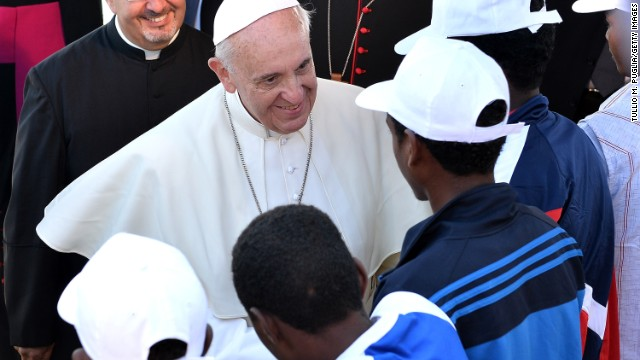 On arriving at Lampedusa, Italy, Pope Francis met 50 selected migrants including men, women and children who were both Christian and Muslim and listened to their stories about their perilous voyage from North Africa.