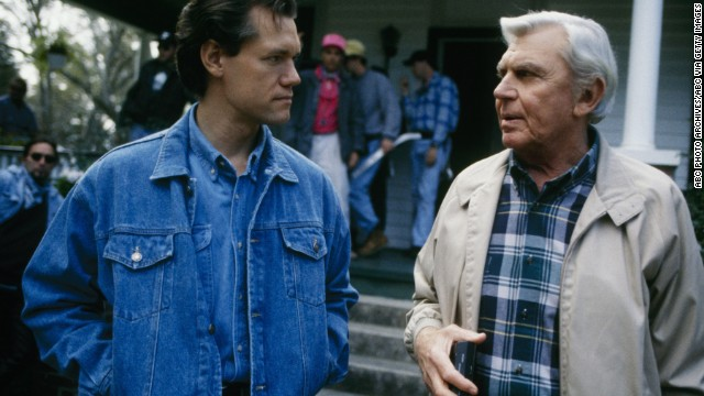 "Travis talks with Andy Griffith on the set of ""Matlock"" circa 1993."