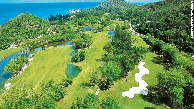 The 5,827 yard, par 70 golf course at the Lemuria Resort on Praslin Island in the Seychelles is the only 18-hole course in this magnificent Indian Ocean archipelago. The beautiful layout more than makes up for the challenge it presents golfers.