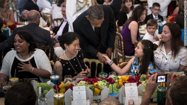 President crashes kids' 'state dinner'
