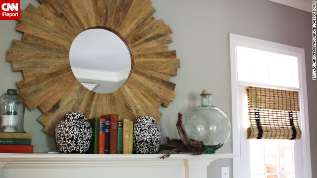 <a href='http://ireport.cnn.com/docs/DOC-1000676'>Emily Clark</a> of Charlotte, North Carolina, mixed glass objects and driftwood to lend a summery feel to her mantel.